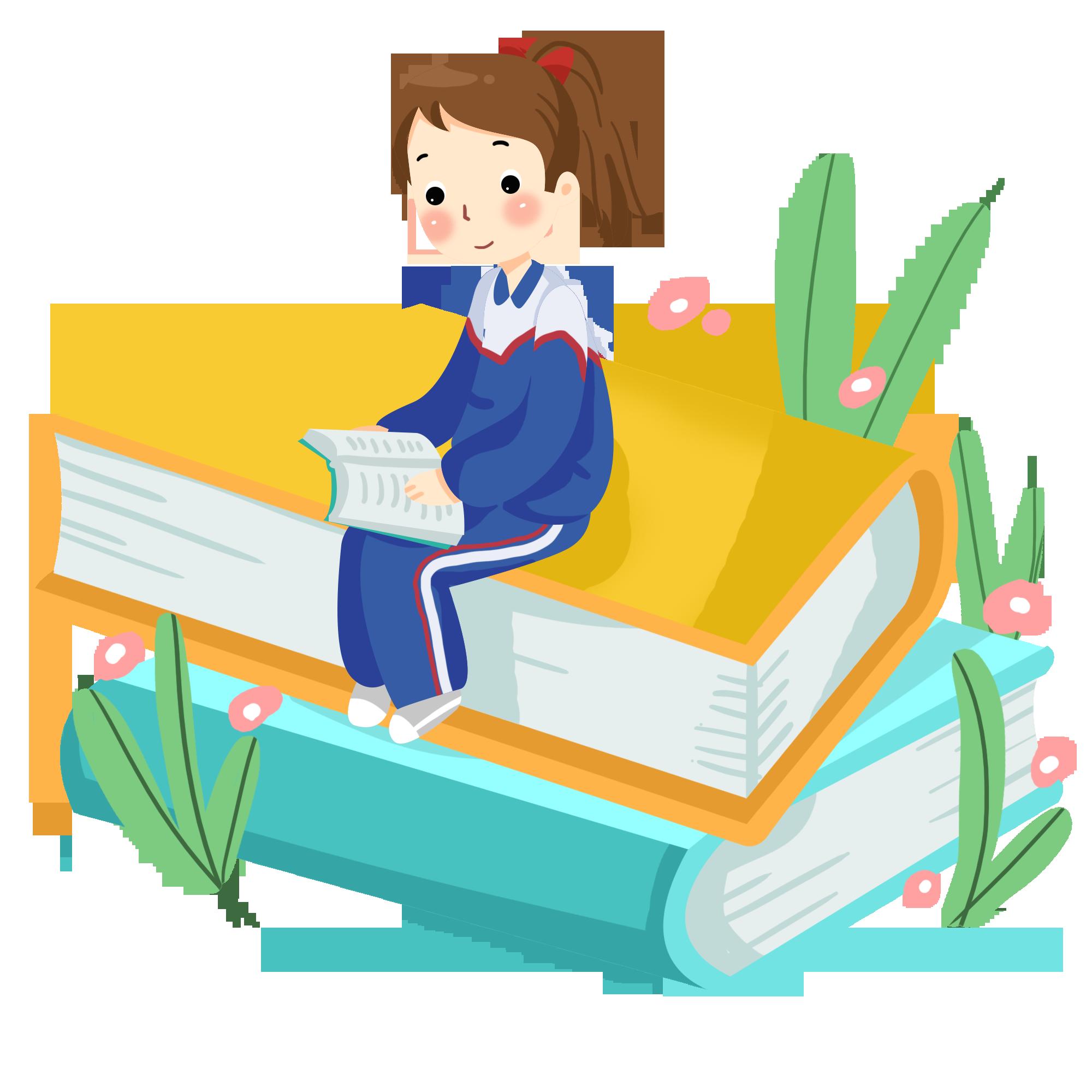 摄图网_401329206_坐在书本上复习的女孩(企业商用).png